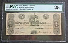 1828 The Monmouth Bank, Freehold, NJ - Five Dollar Obsolete Note