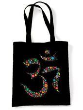 Floral Om Symbol Cotton Shoulder Bag - Hindu Yoga Meditation Aum