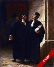 3 EUROPEAN STYLE LAWYERS IN ROBES PAINTING LEGAL SYSTEM ART REAL CANVAS PRINT