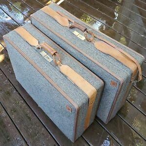 Vintage Hartmann Belting Tweed Leather Trim Suitcase Luggage Wheels Lot of 2