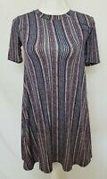 BCBG Generation Womens XS Multi-color Striped Short Sleeve Dress Top X-Small EUC