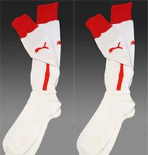 2 x New Puma Team Football Socks White with Red Trim Uk 2-5 Eur 35-38 (Size 2)