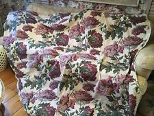 Double Panel Vintage Barkcloth Fabric Huge Peony flowers Pink Burgundy #I