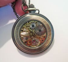 Vintage Wind Up GT POCKET WATCH NECKLACE With SKELETON MECHANISM - JEWELED