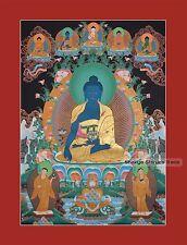 "33.5"" x 24.5"" Medicine Buddha Tibetan Buddhist Thangka/Thanka Painting Frm Nepal"