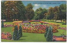 LANSING - Flower Garden In Potter Park - Michigan - vintage USA postcard