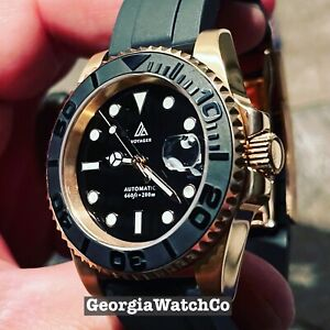 Diver Watch Rose Gold Tone Custom Mod NH35 automatic movement