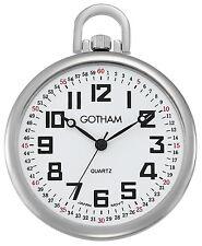 Gotham Men's Silver-Tone  Slim Railroad Open Face Quartz Pocket Watch #GWC15022S