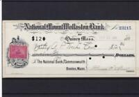 united states revenue stamp on bank cheque receipt of 1898 ref r14188