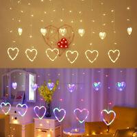 LED Herz Lichtervorhang Fenster Lichterkette Beleuchtung Party Weihnachten Deko