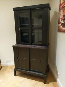 Ikea Hemnes black brown solid wood display book case dresser with sliding doors