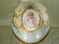 Antique Dresden c19th Century Portrait Hand Painted Gold Gilded Egg/Vase