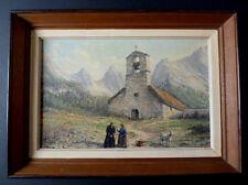 PAYSAGE DE MONTAGNE EGLISE ALPES PYRÉNÉES signé à identifier XX impressioniste