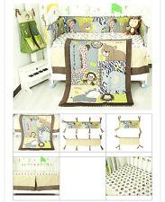 7PCS Boy Baby Bedding Set Animals World Nursery Quilt Bumper Sheet Crib Skirt