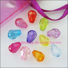 70Pcs Mixed Plastic Acrylic Clear Teardrop Spacer Beads Charms 6x8.5mm