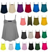 Ladies Jersey Lightweight Strappy Cami Flared Vest top Camisole UK Size 8-26