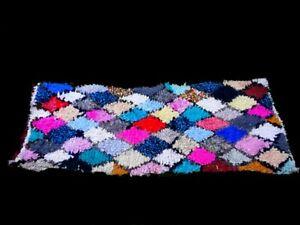 Vintage multicolor moroccan boucherouite rug Handmade 5'6''×2'5 Azilal Berber