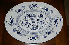 "JOHNSON BROTHERS BLUE NORDIC ONION LARGE 15 1/2"" PLATTER FINE CHINA 1950'S"