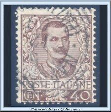 1901 Italia Regno Floreale Vittorio Emanuele III° cent. 40 bruno n. 74 Usato