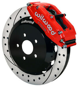 "WILWOOD DISC BRAKE KIT,FRONT,93-97 CAMARO,13"" DRILLED ROTORS,RED CALIPERS"