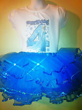 FROZEN Dress Princess Elsa 2 Pc Tutu Birthday Outfit 1T,2T,3T,4T,5,6T,7,8,9