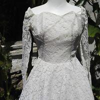 Vintage Wedding Dress Authentic 1950/60 Short length Ivory White Princess style