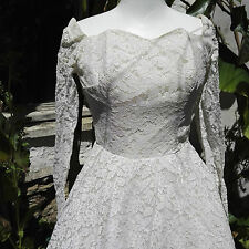 Vintage Wedding Dress Authentic 1950/60 Short length Ivory White Princess style