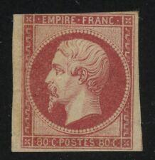 FRANCE YVERT18 SCOTT 20 MH NAPOLEON III 80c Rose - Was stuck to 1862 album