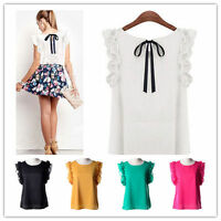 New Women Chiffon Blouse Shirts OL Lady Round Collar Sleeveless Ruffles Tops