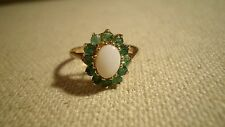 LOVELY  Natural Opal & Emerald 9K Yellow Gold Halo Ring Size - 6