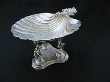 Vintage 3 Cherub Figurines Footed Shell Candy Nut Dish Silverplate