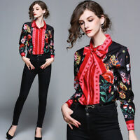2019 Summer Fall Snake Floral Print Long Sleeve Women Casual OL Top Shirt Blouse