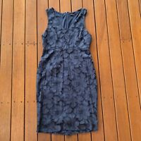 Tokito Size 10 Pencil Dress Navy Floral Lace V Neck Business Cocktail