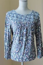 NEW LUCKY BRAND WOM L Mixed Print FLORAL Smocked Top BLOUSE BLUE IVORY 3/4 SL