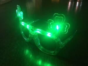 Irish Shamrock Flashing Light Up Glasses St Patricks Day or Notre Dame Football