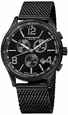 NEW Akribos XXIV AK719BK Mens Ultimate Chronograph Black Steel Mesh Date Watch