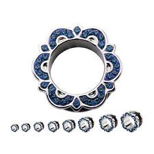 """PAIR-Bali w/Blue Montana Gems Screw On Ear Tunnels 22mm/7/8"""" Gauge Steel Body Je"""