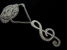 """Un precioso collar de diamantes de imitación Treble Clef Nota Musical en la cadena de 27"""". Nueva."""