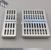 2 STAINLESS STEEL STERILIZATION CASSETTE BOX TRAY FOR 5 AND 10 INSTRUMENTS