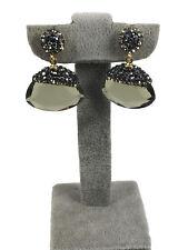 Turkish Handmade Jewelry Khaki Crystal 925 Silver Woman Earring - 046