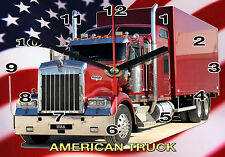 HORLOGE MURALE, CAMION KENWORTH, TRUCK USA-02M
