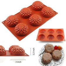 6-Cavity Sunflower Silicone Mold Chocolate Cupcake Pudding Cookie Baking Pan