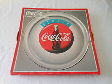 "COKE coca cola 13""   glass logo bottle disk platter in box 1995"