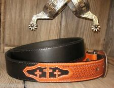 3D GENUINE LEATHER WESTERN BELT RODEO BLACK CROSS TOOLED SZ 34 CUTTING REINING