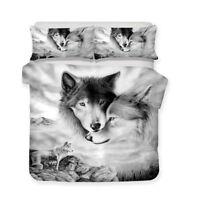 3D Love Couple Wolf Duvet Cover Bedding Set Pillow Case Animal Comforter Cover