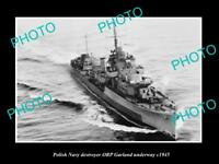 OLD LARGE HISTORIC PHOTO POLAND MILITARY POLISH NAVY SHIP ORP GARLAND c1945