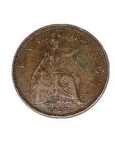 1927 FARTHING coin, King George V - Britannia pre-decimal 1/4d quarter penny