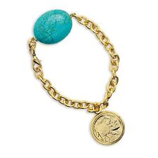 NEW Gold-Layered Buffalo Nickel Coin Bracelet with Turquoise Stone 11367