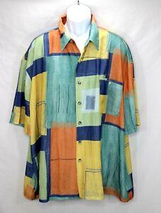 Alan Stuart Size 2X Men's Short Sleeve Geometric Pattern Shirt