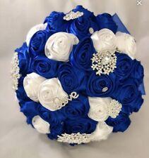 Royal Blue & White Bridal Brooch Bouquet